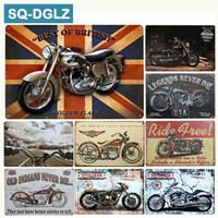 motosiklet kalay metal toptan satış-[SQ-DGLZ] ABD Motosiklet Metal Burcu Vintage Metal Plakalar Cafe Pub Kulübü Ev Duvar Dekor Kalay Işaretleri Retro Plak