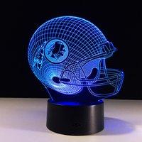 lâmpada de mesa de futebol venda por atacado-Amizade de futebol presentes 3D CONDUZIU a Luz Da Noite 7 Cor Mudando edifício USB Ilusão de Óptica Home Decor Candeeiro de Mesa Novidade Iluminação para crianças