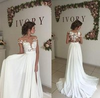 thigh high slit gowns Canada - Simple Thigh High Slits A Line Wedding Dresses Applique Short Sleeve Chiffon Bridal Dresses Long Cheap Wedding Gown Dresses