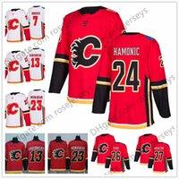 Wholesale red garnet stone - Calgary Flames #21 Garnet Hathaway 24 Travis Hamonic 26 Michael Stone 27 Dougie Hamilton 2018 NEW Brand Red White Hockey Jerseys S-60