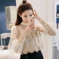 Wholesale Two Color Collar Shirt - Korean Women Fashion Long Sleeves Chiffon Blouse Stand Collar Perspective Tassel Plume Feather Lace Shirt Two-piece Shirt Tops