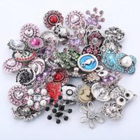 Wholesale European Bead Earrings Wholesale - 50pcs lot 12mm 18mm Rivca Snaps Button DIY Jewelry Rhinestone Alloy Charm Beads for Noosa Chunks Strands Earring