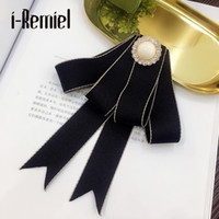 Wholesale indian lady dress - i-Remiel Ribbon Rhinestone Collar Bow Bowtie Brooch Broches Pins And Brooches Dresses Korean Ladies Broaches