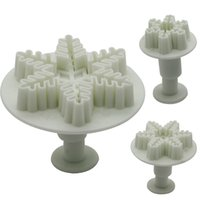 Wholesale Snowflakes Cake Mold Silicone - 1Set 3pcs Snowflake Plunger Cutter Tool Cake Fondant Decorating Sugarcraft Mold