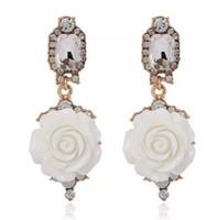 Wholesale korean silver jewelry brand resale online - Simple diamond earrings for big brands Korean version of big stars sweet flower jewelry set with diamond earrings