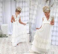 şifon fıstık çiçek kız elbiseleri toptan satış-2018 Güzel Boho Fildişi Çiçek Kız Elbise V Boyun Bir Çizgi Şifon Dantel Çocuk Communion elbise Çocuklar Resmi Giyim Doğum Günü Partisi Elbisesi BA4995