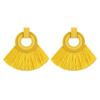 moderne quasten großhandel-Mode Frauen Quaste Ohrringe 2018 Brincos Boho Erklärung Fringe Ohrringe Kreis Vintage Fan Form Dangle Ohrring Moderne Schmuck