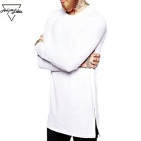 Wholesale fashion shirt zip for sale - Group buy Aelfric Eden Street Wear Fashion Men Casual T Shirt Long Sleeve Oversize T Shirt Man Curve Hem Side Zip Hip Hop Cotton Top Tees