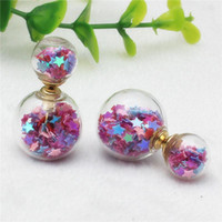 Wholesale Sequins Earrings - 2018 new Design double imitation pearl Starry temperament small fresh retro fashion sequins high-grade glass earrings for girls
