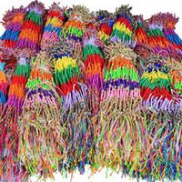 ingrosso tessuti brasiliani-10 Pz / lotto Boemia A Buon Mercato Brasile Treccia Tessuto Colorato Sottile Corda Catena Bracciale Moda Donna Braccialetti