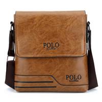 hochwertige herren schultertaschen großhandel-Herren Umhängetasche Hohe Qualität Berühmte Marke Design Männer Umhängetasche Casual Business Leder Vintage-Mode Polo Cross Body