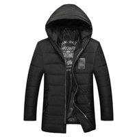 Wholesale Weave Spray - Brand Men's Winter Warm Thick Spray-bonded Wadding Casual Jacket Zipper With Hat Fashion Coat Super Large Male Size XXXL-7XL