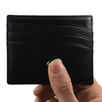 Wholesale korean fashion wallets men - Classic Black Genuine Leather Credit Card Holder Wallet Luxury Brand MB ID Card Case for Man Fashion Thin Coin Purse Pocket Bag Slim Wallets