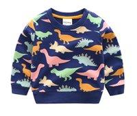 outono camisola dinossauro venda por atacado-2019 primavera e outono novas crianças dos desenhos animados camisola jaqueta de esportes crianças pulôver dinossauro casuais camisolas do bebê casaco