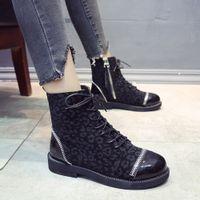 Wholesale leopard print low heels for sale - Group buy Women Boots Leopard Print Ankle Boots For Women Lace Up Winter Female Casual Shoes Low Heel Bottes Femme