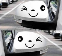 autocollants miroir achat en gros de-Drôle Rétroviseur Ruban Réfléchissant Visage Souriant Autocollants PET Stickers Garland smiley Blink C015 noir blanc Car Styling