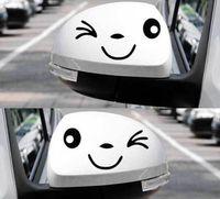 pegatinas de la cinta del espejo al por mayor-Espejo retrovisor gracioso cinta reflectante caras sonrientes pegatinas calcomanías de PET Garland smiley Blink C015 negro blanco Car Styling