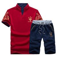 mens ince yazlık takım elbise toptan satış-Yaz Erkek Tracksuits Maserati Baskılı Tasarım Erkek sweatsuits Casual Slim POLO Şort 2 Adet Hommes Sportsuits Erkek Giyim Suits Tops