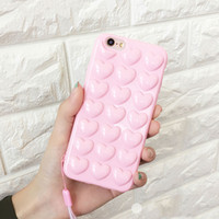 Wholesale soft jelly cases for iphone - Love Heart Jelly Candy Phone Case For Iphone X Soft TPU Back Cover With Lanyard For Iphone 6 7 8 Plus