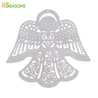 "Wholesale x stamp - 8SEASONS 304 Stainless Steel Filigree Stamping Pendants Angel Silver Tone Color Hollow 50mm(2"") x 50mm(2""), 10 PCs"