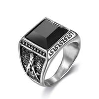 homens de anel de gemstone preto venda por atacado-Anéis de ouro de prata retro maçônica 316 homens de aço inoxidável com preto cz gemstone pedreiro livre anel de jóias