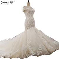 red de ilusiones al por mayor-Off hombro sexy de gama alta vestidos de boda personalizados 2018 sirena de cristal de lujo lentejuelas vintage vestido de novia foto real
