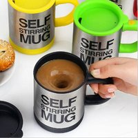 Wholesale automatic tea - 400 ML Self Stirring Mug Double Insulated Automatic Electric Coffee Cups Tea Milk Mixing Drinking Cup