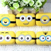 Wholesale Contact Lenses Case Mirror - Minions Metal contact lens case cute yellow Cartoon Cosmetic Contact Lenses Box with mirror eyewear accessories L030