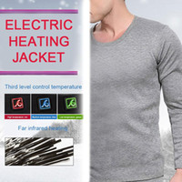 roupas de carbono venda por atacado-Acampamento Ao Ar Livre dos homens USB Esqui De Veludo Quente Roupa Elétrica Inteligente Roupa Interior Térmica de Fibra De Carbono Aquecimento Underwear Pano