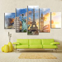 Canvas HD Prints Pittura Wall Art Poster Quadro 5 Pezzi Monumenti Buddha Eiffel Tower Statua della Libertà Immagini Home Decor