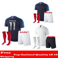 Wholesale Cups Sets - AAA+ quality 2018 World Cup jerseys GRIEZMANN Mbappe KANTE POGBA Soccer Sets 18 19 Maillot de foot de l'équipe nationale France kids kits