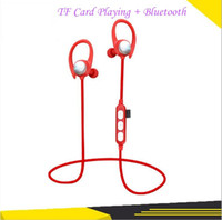 Wholesale wireless memory mp3 online - High quality Sports Bluetooth earphones wireless headset TF memory card MP3 playing super bass headphone for iphone android sumsung xiaomi