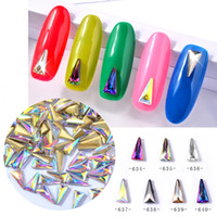 Wholesale Triangle Nail Art - 7 Colors 4 * 8mm 3D Triangle Glass Crystal AB Nail Decoration Charms Long Pointed Nail Art Rhinestones For Manicure Beauty