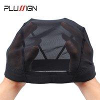 ingrosso maglia di tessitura dei capelli-Plussign Black Mesh Dome Cap all'ingrosso 1PC traspirante Glueless elastico elastico Spandex Hair Net Weave Cap per fare un