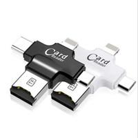 lector usb android al por mayor-Lector de tarjetas 4 en 1 Lector de tarjetas micro SD USB2.0 Micro USB tipo C OTG HUB Adaptador TF Lector de tarjetas de memoria flash para iPhone iOS / Android / PC / OS X