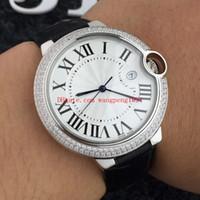 mens relógios de couro branco da faixa venda por atacado-3 estilo homens de alta qualidade assistir 42mm WE902055 White Dial diamante mosaico moldura pulseira de couro Bandas Mens Automatic Watch Watches