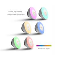 Wholesale led alarm clock radio - Plastic Colorful Night Lamp Round Touch Sensing Digital Alarm Clock With FM Radio Sunrise Sunset LED Wake Up Light Fashion 90hx B