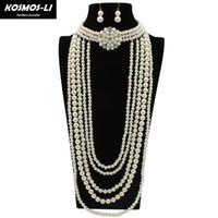 ingrosso collana della perla del branello-Collana di perle con orecchini per donna Collana di perle con gemme di cristallo a più strati