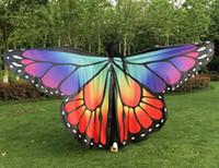ingrosso ventre della farfalla-Ali da ballo per adulti Farfalla colorata apertura ali danza del ventre isis Split (senza bastoncini)