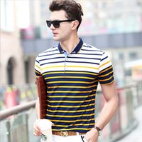 Wholesale mens stripped shirts - Spring Summer New Polo Shirts Mens Short Sleeve T-shirts Fashion Brand Mens Strip Tops