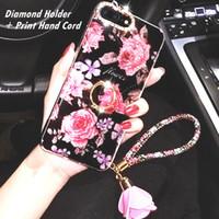 rhinestone bling handy fällen großhandel-Für iPhone 6 6S 7 8 plus X XR XSMAX Luxus-Designer Bling + Diamond Holder + Print-Handkordelschutz Anti-Klopf-Handyhüllen 10079