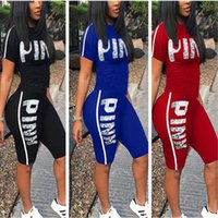 Wholesale tight ladies t shirt - Love Pink Letter Tracksuits Short Sleeve T-shirt Top Tees+Shorts Hot Pants Ladies Tight Bodycon Summer Casual Yoga Gym Jogger Suit S-3XL