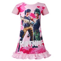 Wholesale pink nightgowns for sale - fortnite girls pajamas Girls summer skirts cartoon print children s nightgown princess dress for girls age years