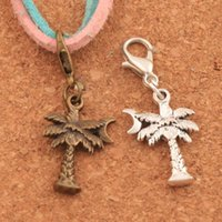 Wholesale diy coconut jewelry for sale - Group buy 100pcs Colors Coconut Tree Moon Lobster Claw Clasp Charm Beads Jewelry DIY C413 x14mm