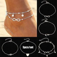 """Wholesale sexy feet set - 5pcs set Lady's silver and gold Plated Chain Ankle Anklet Bracelet set """"8"""" Heart Anchor pearl alloy Anklet Sexy Barefoot Beach Foot Jewelry"""