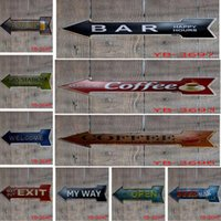 Wholesale plaque plates for sale - Group buy Hot Coffee Beer Garage cupcake Exit Vintage Arrow Irregular Tin Sign Gift Craft Wall Plaque Cafe Supermarket Decor