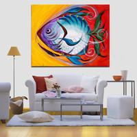 pintura al óleo de pescado enmarcada al por mayor-1 Panel Art Print Poster impresiones de la lona Blue Happy Fish pintura al óleo abstracta moderna imagen de la pared para la sala de estar decoración del hogar sin marco
