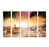 Wholesale beach abstract art for sale - Group buy Large Panel Modern Wall Art Picture Sunset Seascape painting Beach conch starfish Printed On Canvas for Living Room Home Decoration SetB25