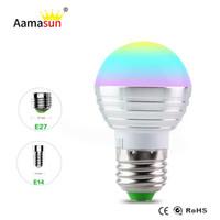 Wholesale spot luz - E27 RGB Led Lamp Bulb AC110V 127V 220V E14 LED Light RGB 5W Spot Light 16 Color Change Dimmable Lampada Luz + Remote Control