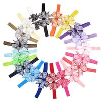 tela elástica de encaje al por mayor-Chica linda flor suave del cordón del arco elástico venda del pelo tela de moda Floral Dovetail Headwear decoración del pelo